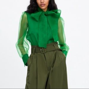 Zara green organza blouse with tie